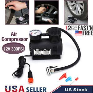 12V Auto Car Electric Air Pump 300PSI Air Compressor Portable Tire Inflator Kits