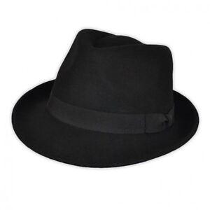 New-Classic-Mens-Black-Racing-Trilby-Fedora-Hat-Wool-Felt-Ladies-Vintage-Hat