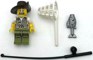 Lego-Neuf-Pecheur-Minifigurine-avec-Poisson-et-Peche-Pole-et-Filet-Pieces