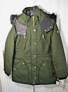 2019 wholesale price check out detailed look Details about NWT WOMEN'S GUESS DARK OLIVE GREEN RAIN COAT FAUX FUR TRIM  HOOD JACKET SZ MED
