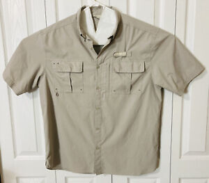 Field and Stream Men's Short Sleeve Button Front Tan Fishing Shirt Size Large
