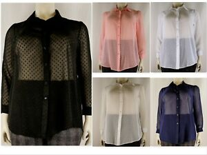 Women-039-s-Sheer-Chiffon-Full-Sleeve-Collar-Shirt-Dobby-Blouse-Plus-Size-14-32