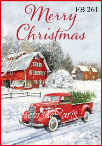 ~ Vintage Christmas Home for the Holidays Red Truck 1 Print on Fabric FB 261 ~