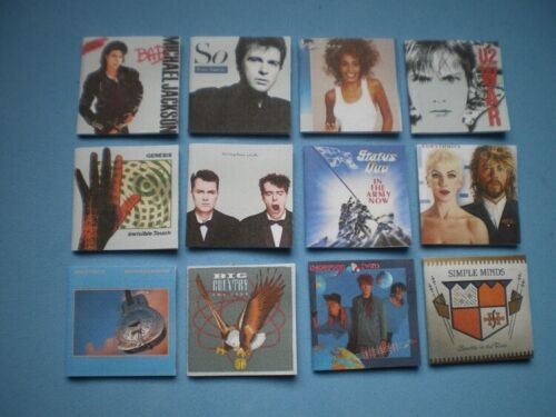 set 2 of 2 Dolls House miniatures accessories 80s music albums