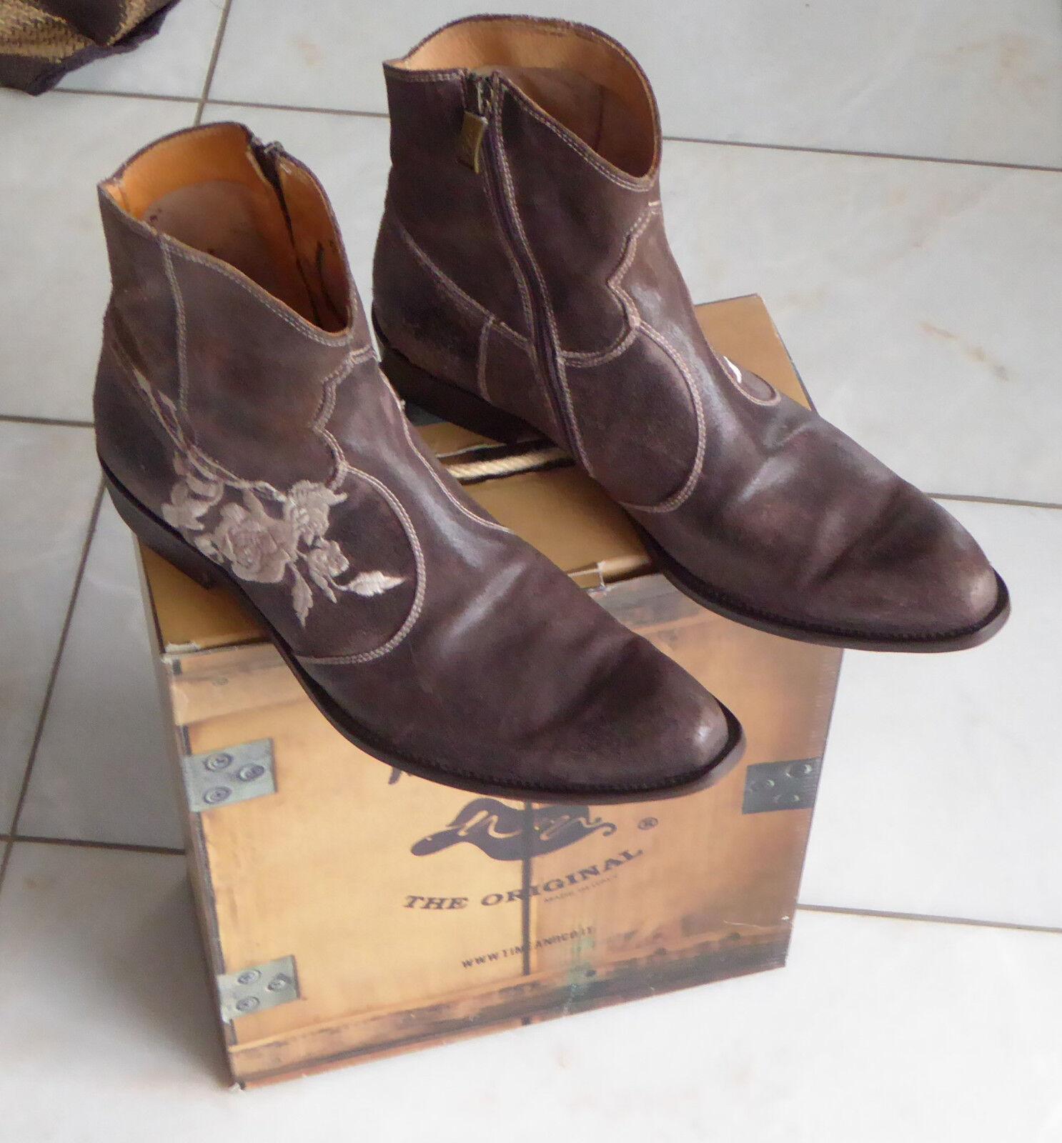 Boots Stiefel We Are The Original INSIEDAY , caffè, braun,Blumen-Stiching, Gr.43