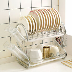Kitchen Dish Cup Drying Rack Drainer Dryer Tray Cutlery Holder Organizer SS3