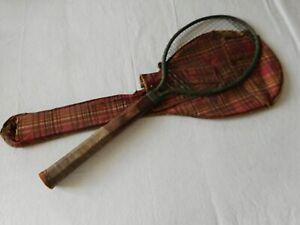 Vintage 1920's Dayton Ohio Tennis Racquet Steel Frame Wire Strings Wooden Handle
