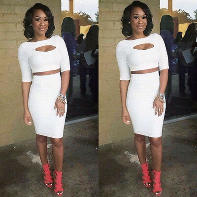 Women Club Bandage Bodycon Cocktail 2pcs White Sexy Dress Clothing Slim Clubwear