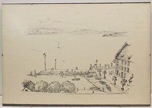 """ Port En Meersburg Am Grethaus "" Org.litho. Betit / Unl.sign/dat.glenthe 41 ?"