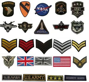 Military-style-Embroidered-Iron-On-Sew-On-Patches-Badges-Transfers-Fancy-Dress
