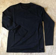 PRADA Men's Classic Signature long sleeve T-Shirt Tee Black L M Slim fit silky