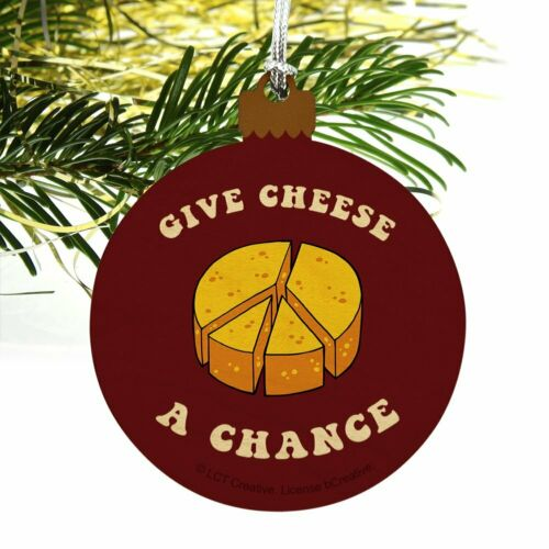 Give Cheese a Chance Peace Symbol Funny Wood Christmas Tree Ornament