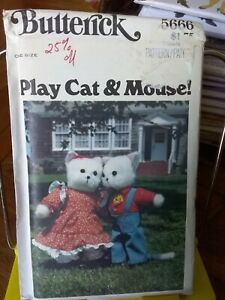 Oop-Butterick-Play-Cat-amp-Mouse-5666-stuffed-dolls-cat-mouse-15-034-clothes-UNCUT