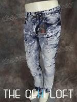 Mens Switch Designer Jeans Taper Fit Leg Faded Rips Light Wash Urban Hip Hop