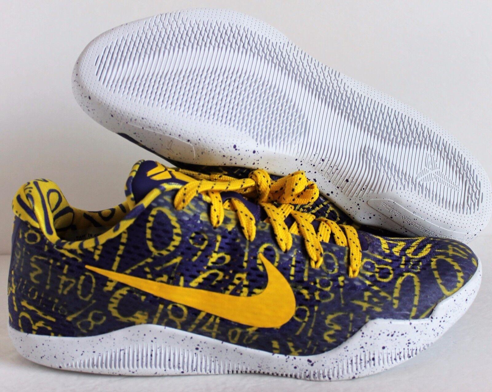 Nike kobe xi 11 id mamba giorno varsity viola giallo bianco sz 10 [865773-991]