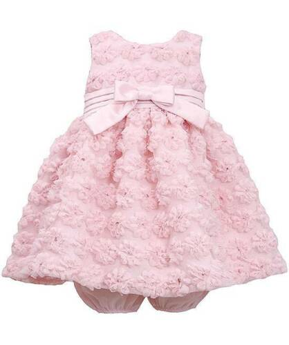 New Girls Bonnie Jean 12m Light Pink Flower Bonaz Dress Wedding Pageant Holiday