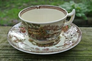 Multicolor-Royal-Staffordshire-Clarice-Cliff-TONQUIN-Tea-Cup-amp-Saucer