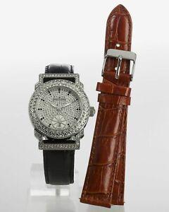 X142 Designer Damenuhr versilbert Kristalle Wechsel-Lederband Quartzuhrwerk