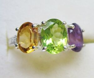 Peridot-Amethyst-amp-Citrine-Ring-in-925-Sterling-Silver-size-5
