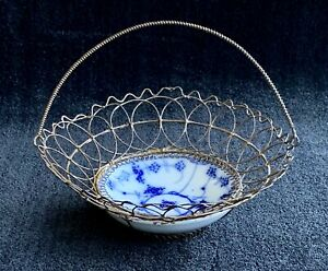 Antique Egg Basket ~ Blue Porcelain and Wire ~ 19th Century
