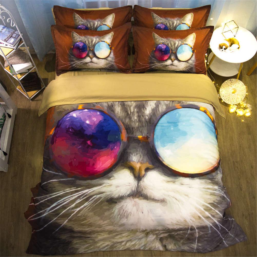Cool Cat Nice Sunglasses 3D Digital Print Bedding Duvet Quilt Cover Pillowcase
