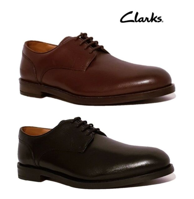 CLARKS COLING WALK RRP£95 WIDE FIT BROWN BLACK GENUINE LEATHER FORMAL SHOES MENS