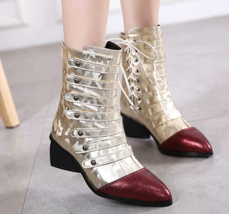 Fashion Womens Ankle Boots Chunky Heel Pointy Toe Laceup Knighat shoes US 4-9