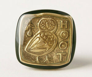 NIB Anthropologie PRESSED COIN OWL KNOB Green Gold HOOT Resin Square