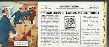 C1950 Union County Observer Westfield NJ Lands Monster 240 Lb Trout Ink Blotter