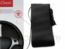 Classic Grip Synthetic Leather DIY Wrap Steering Wheel Cover Tie Black