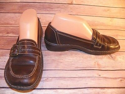 Brown Leather Shoes Women's 6.5M Oxfords Buckle Slip On Clarks Artisan