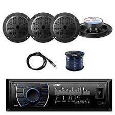 Bluetooth Stereo(Black) w/Pyle Marine Speakers, Marine Antenna & Speaker Wire