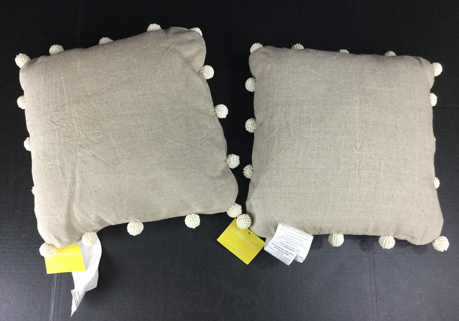 Dransfield & Ross Throw Pillows Set of 2 NWT Tan Cream Beads Zebra Down Popcorn