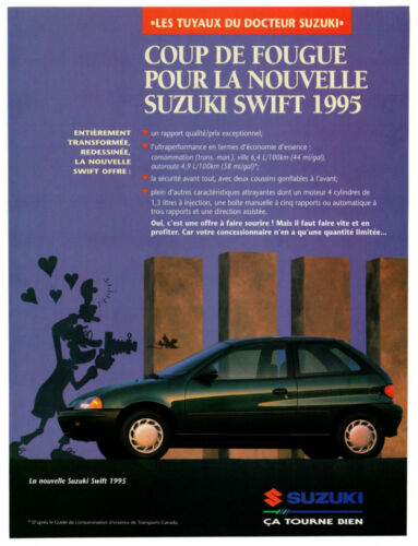 1995 Suzuki Swift Vintage Original Print AD Black car photo 2-door Canada French