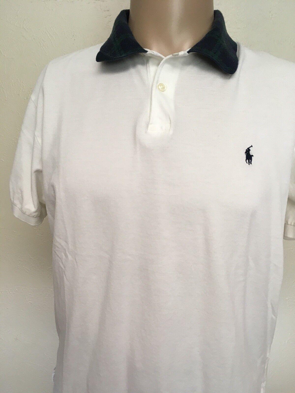 POLO RALPH LAUREN PIMA COTTON POLO White TARTAN PLAID LOOP COLLAR Tennis Shirt M