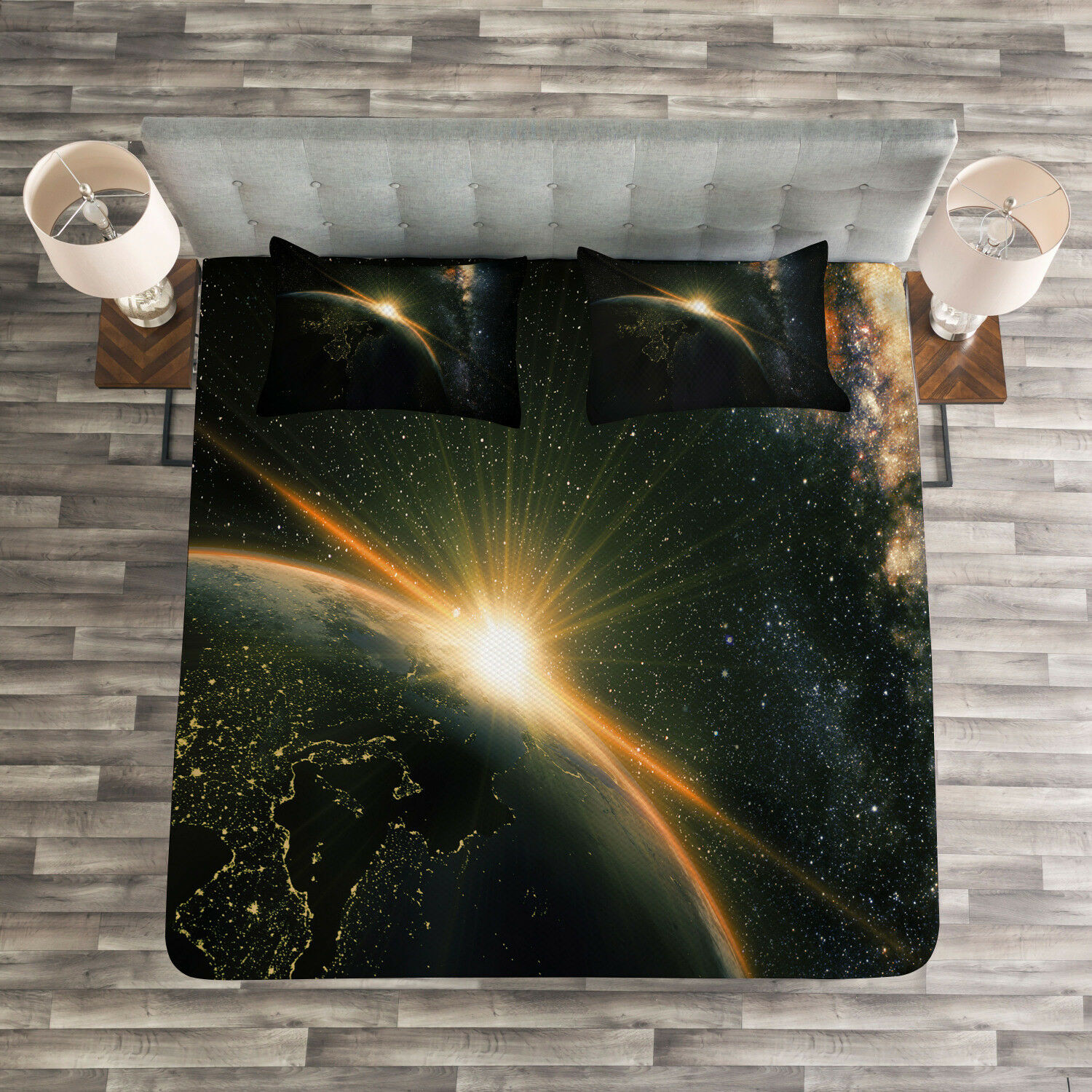 Galaxy Quilted Bedspread & Pillow Shams Set, Sun Rising above Earth Print