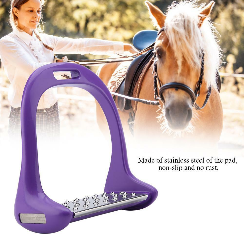 Foot Free Stainless Steel Iron Stirrup Safety Bendy Horse Riding Equestrian