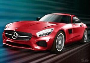 Print on canvas Mercedes-Benz AMG-GT by Dutch artist Ron de Haer