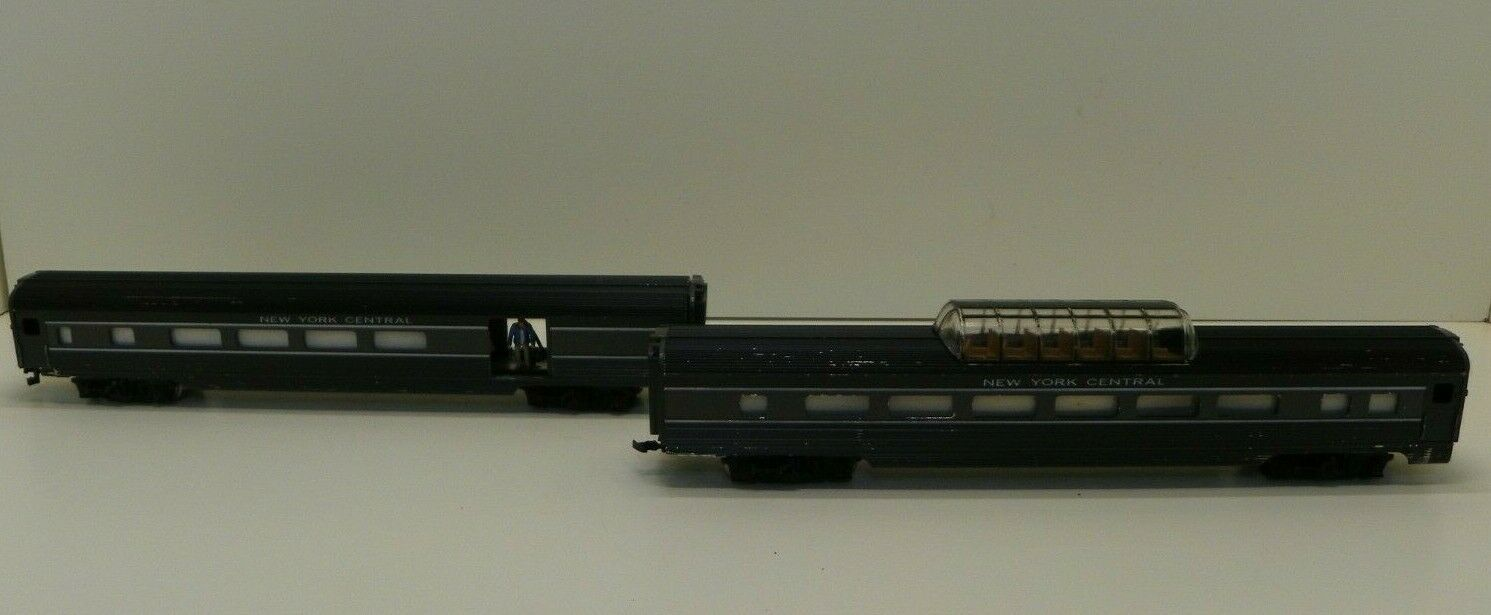 Vintage uomotua HO Gauge nuovo York Central Passenger autos Aluminum Set of Two