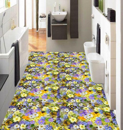 3D fiore fresco colore Pavimento Foto Wallpaper Murales Muro Stampa Decalcomania