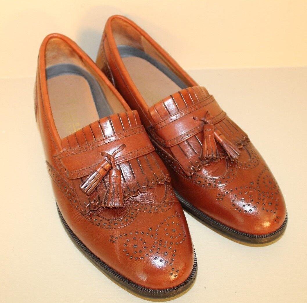 French Shriner Mens Milton Loafers Sz 12 M Brown Leather Kiltie Wingtip Tassel