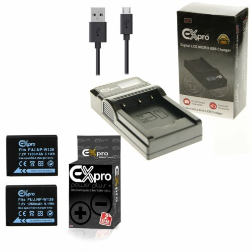 Ex-Pro 2x NP-W126 Batería USB LED BC-W126 Cargador Para Fuji X-E2S XE2S X-M1 XM1
