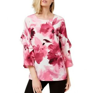 ALFANI-NEW-Women-039-s-Floral-Ruffle-sleeve-Blouse-Shirt-Top-TEDO