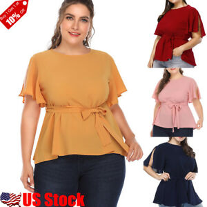Women-O-Neck-Tunic-Short-Sleeve-Loose-Top-T-Shirt-Plus-Size-Loose-Blouse-Tops-US