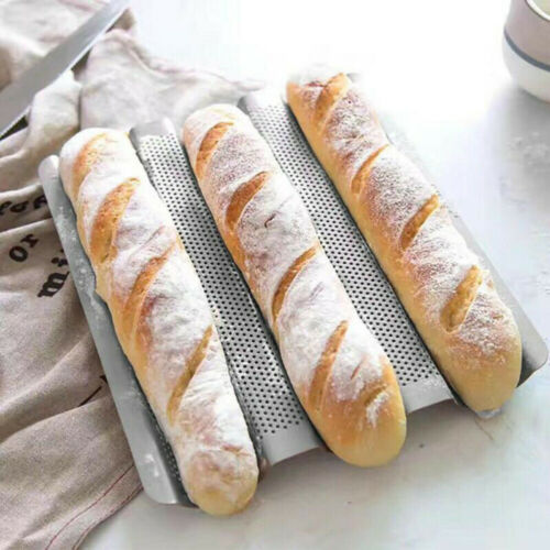 3 grid French Bread Baguette Pan Mold Non-Stick Wave Loaf Bake Baking Mould HOT~