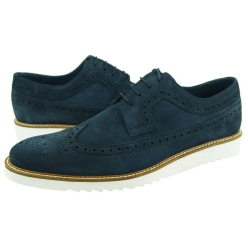 Men/'s Casual Blue Suede Shoes Charles Stone Wingtip Oxfords 7-13US
