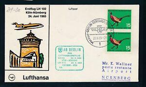 13953) Lh Ff Cologne-nuremberg 24.6.65, Sou à Partir De Berlin, Auchinleck Bd 15pf Oiseaux Bird-afficher Le Titre D'origine