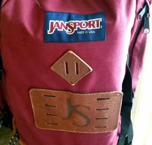 Vtg Jansport Leather/Nylon LOGO Backpack