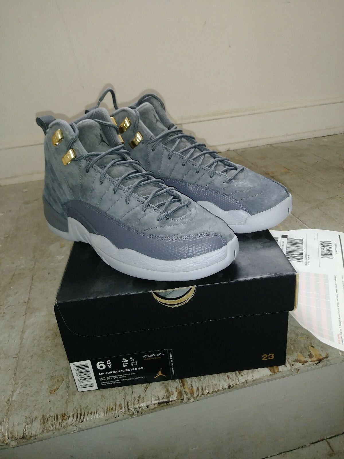 best website 232db bed8d ... zapatos oscuro nuevo azul naranja where to buy air jordan 12 retro bg  dark gris wolf gris 005 cool gris temporada ...
