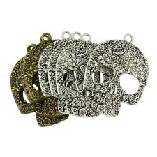 6Pcs Skull Charms Antique Silver//Bronze Gothic Halloween Scary Pendants